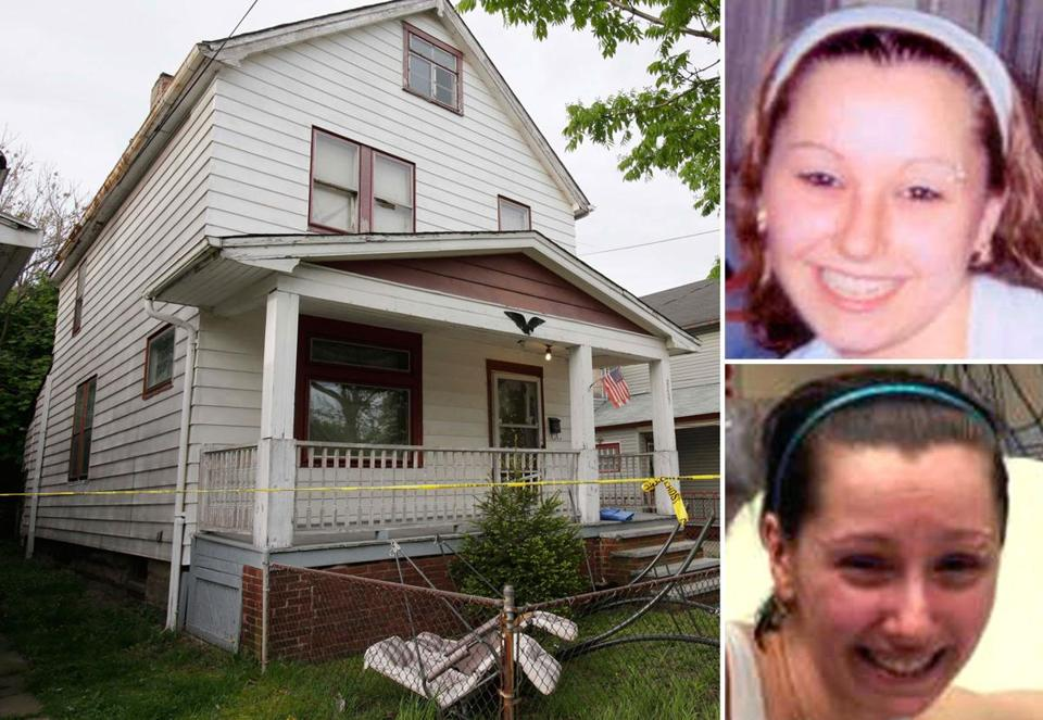 A house in Cleveland where Amanda Berry escaped. Berry (upper right before her kidnapping, bottom right on Monday evening) escaped Monday and called 911.